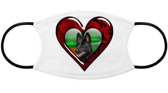 Black German Shepherd Heart Face Mask