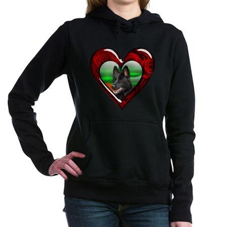 Black German Shepherd Heart Hooded Sweatshirt
