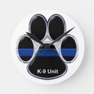 K-9 Unit Thin Blue Line Round Clock
