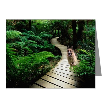 German Shepherd in Rain Forest Note Cards